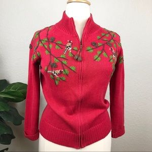 Birds & Pinecones Embroidered Red Zip Cardigan
